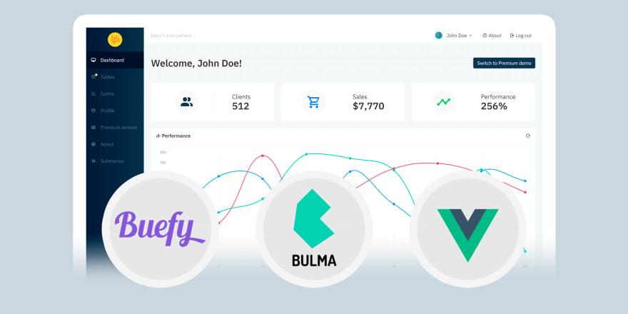 Bulma Vue.js admin dashboard