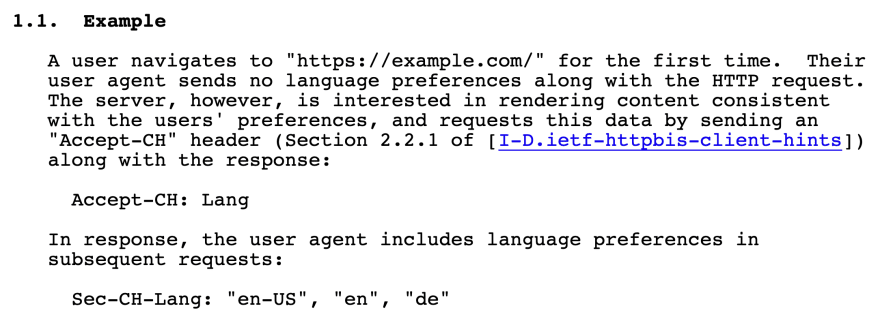 The example section of the 'Lang' Client Hint specification