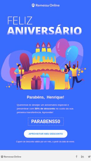 Remessa Online Email Marketing Aniversário