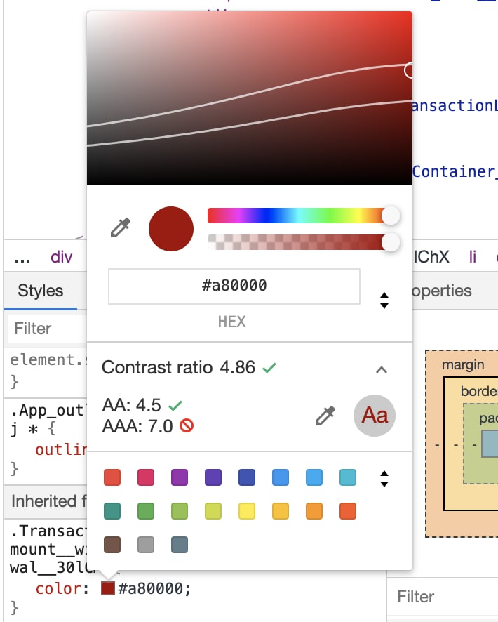 A screenshot of Google's colour picking widget which displays information on whether the picked colour meets contrast ratio guidelines.
