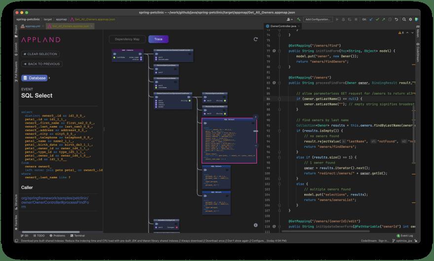 AppMap screenshot in IntelliJ