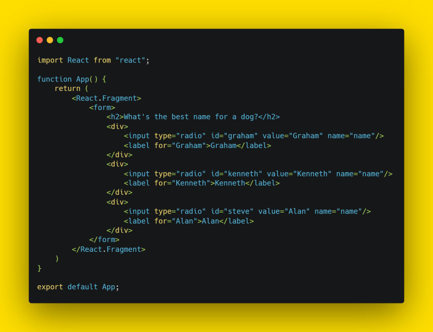 JSX code for form