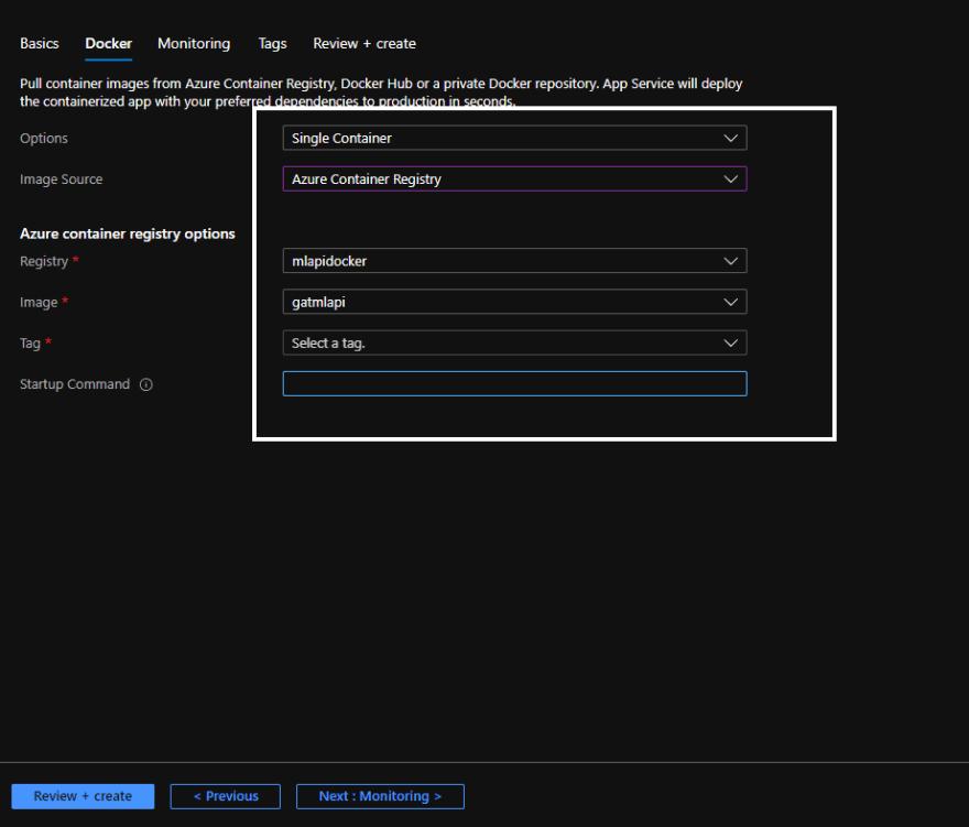 docker image options