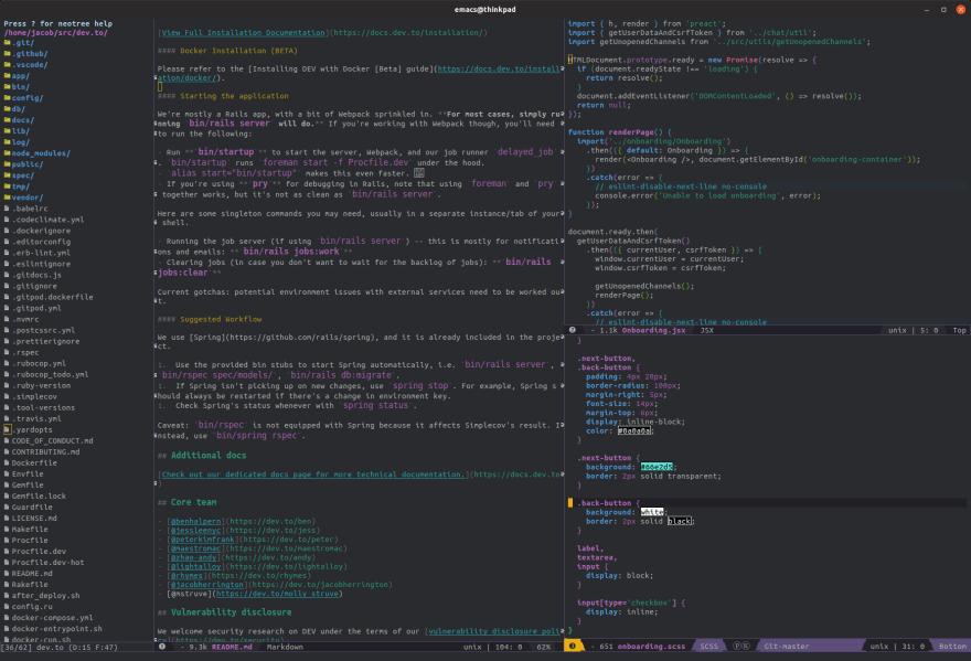A screenshot of Spacemacs