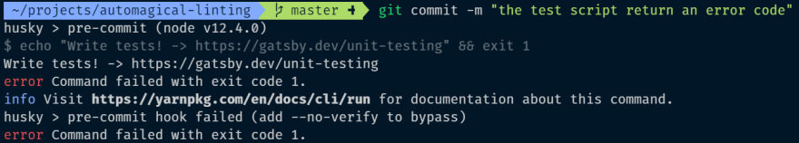 failing test stops the commit