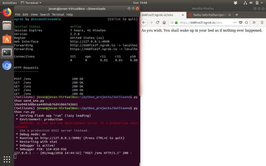 Using Twilio to Send SMS Texts via Python, Flask, and Ngrok