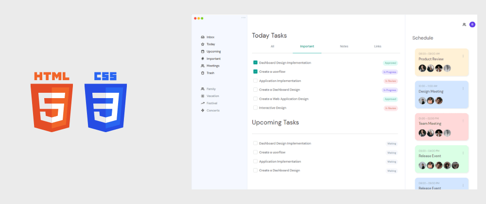 Cover image for Day 3/30 : Responsive Task Management Dashboard using HTML and CSS