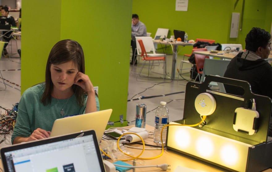 Coding at an IoT hackathon