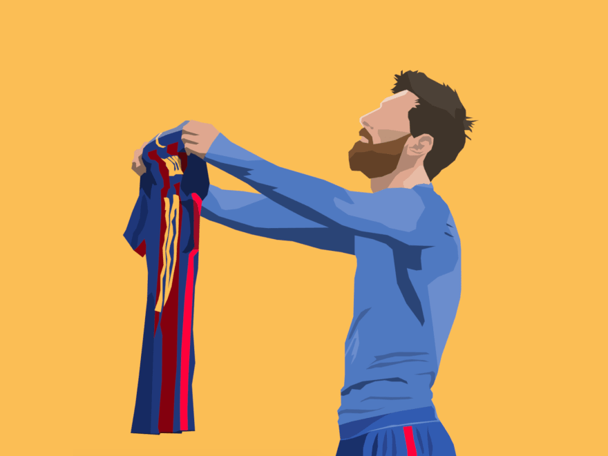 Polygonal cartoon depicting Leo Messi showing his jersey to a non-visible crowd
