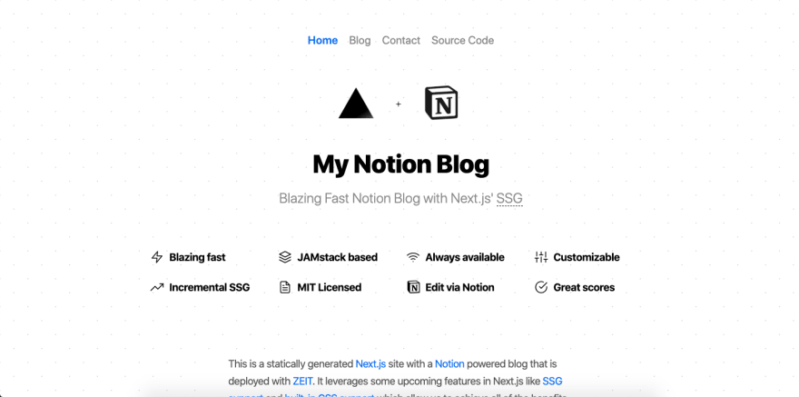 Homepage of Notion Blog