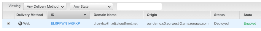 Our CloudFront distribution for our S3 origin