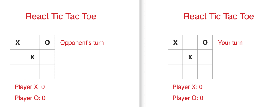 Screen shot of the React Tic Tac Toe Game