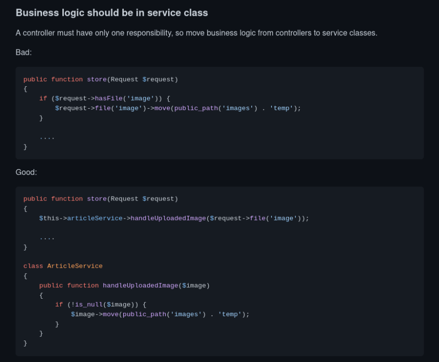 Business logic should be in service class