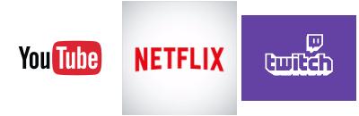 Youtube + Netflix + Twitch logos