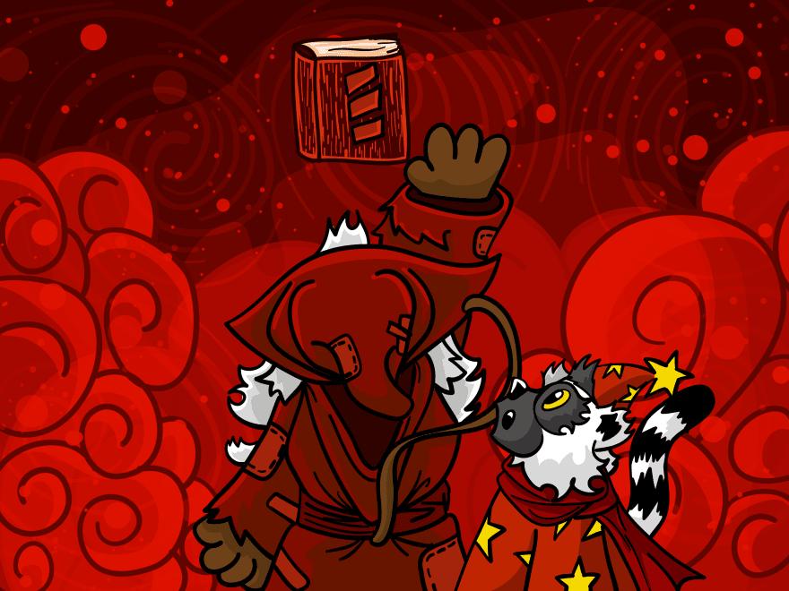 Crimson holding Scala book