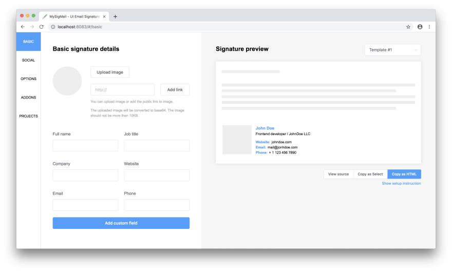 MySigMail - UI Email Signature Generator on GitHub - DEV Community