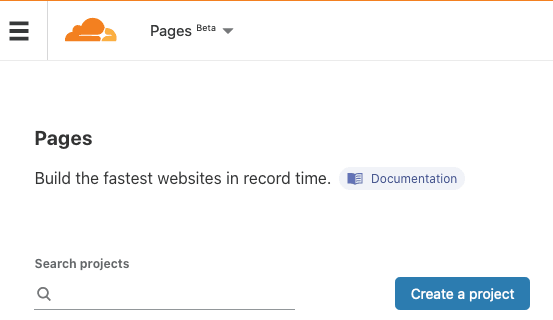 Pages - Create a project