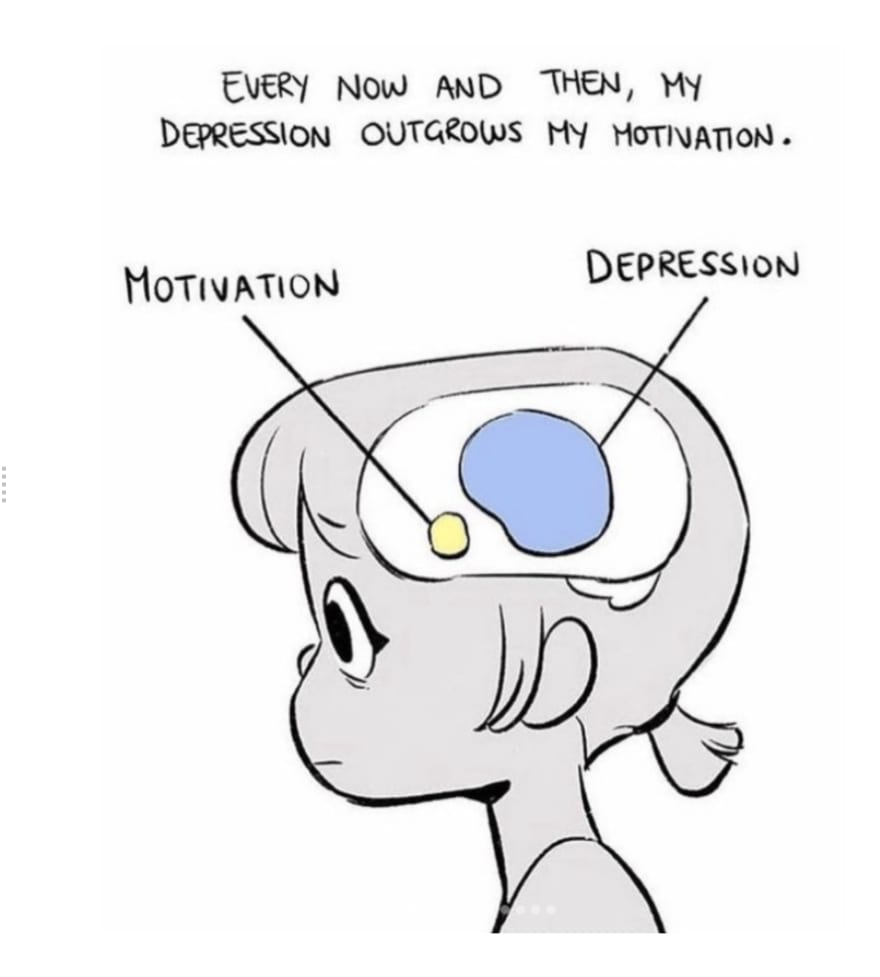 Drawing showing how depression overpowers ones motivation