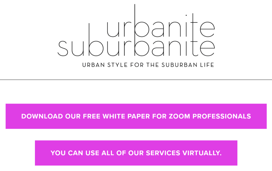 Urbanite Suburbanite: Home Page Calls to Action