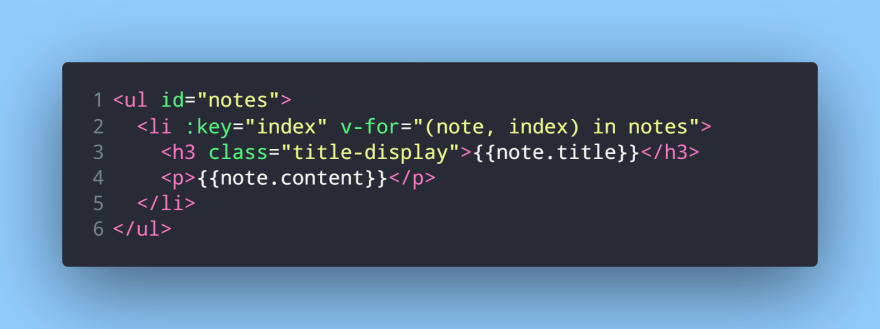 Displaying notes from the notes array