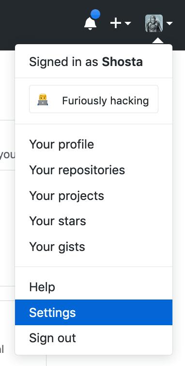 Github : Go to Settings