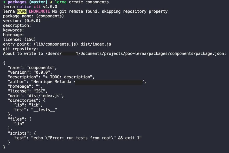 Print do comando Lerna utilizado para criar o pacote de componente