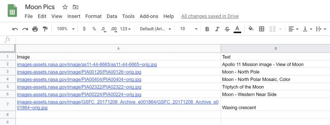 Google Sheet screenshot