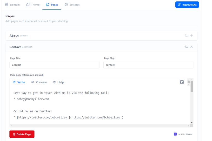 Developer Blog pages makrdown
