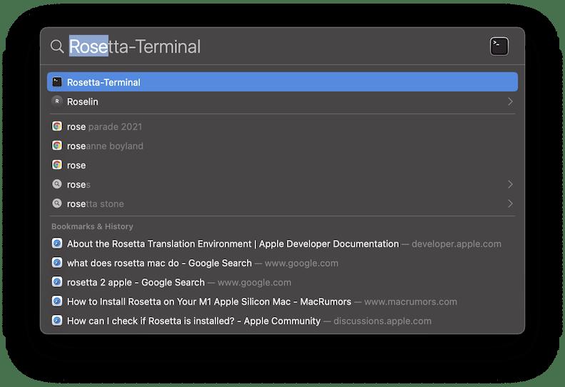 Spotlight Search Rosetta-Terminal