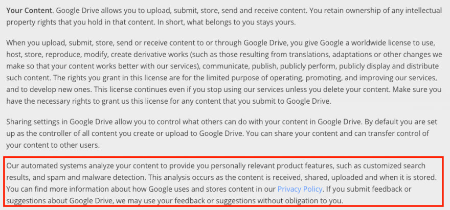 Google Drive Privacy Policy