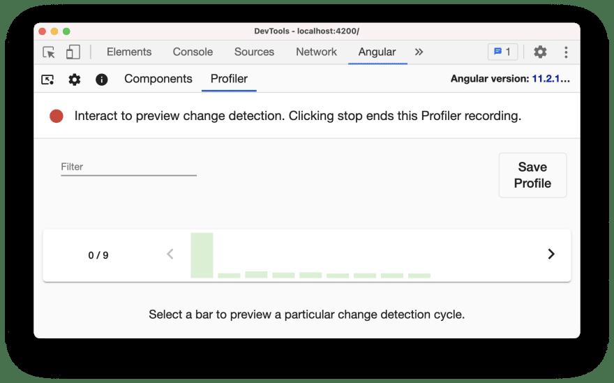 Angular dev tools profiler showing bar chart