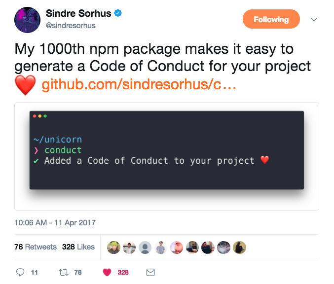 Sindre Sorhus with 1000 NPM packages