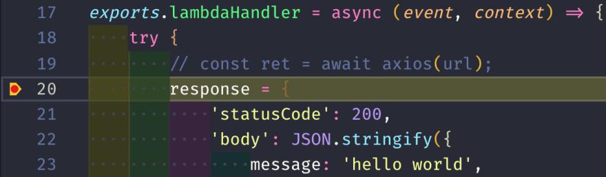 VSCode Breakpoint Highlight Screenshot
