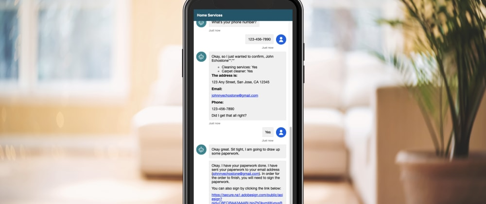 Cover image for Get a document generated and e-signed using a chatbot
