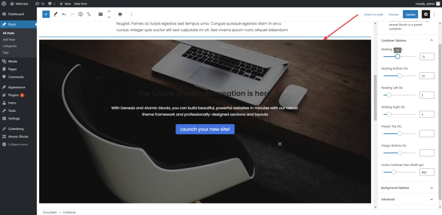 choose a section with a full-width layout