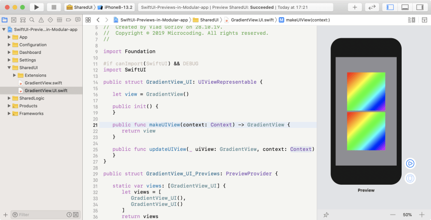 SwiftUI preview after applying @rpath fix