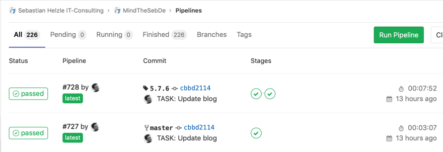 List of pipelines in Gitlab