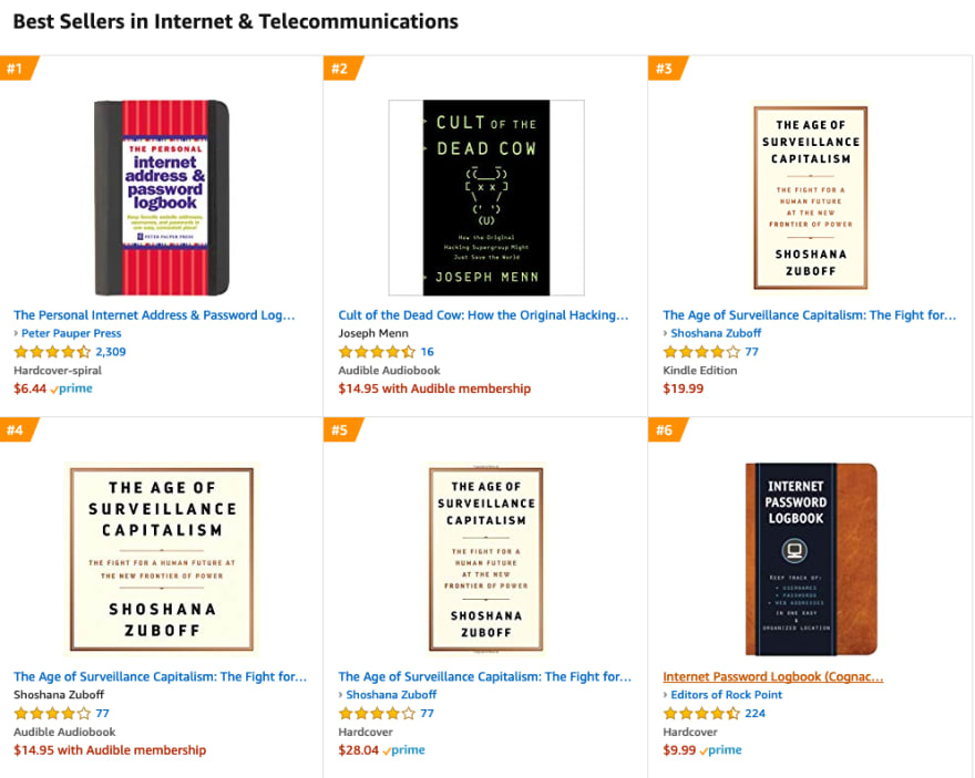 A list of best selling internet & telecommunications books on Amazon