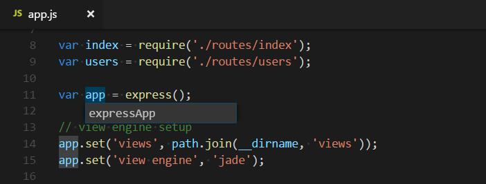 VS code rename symbol example