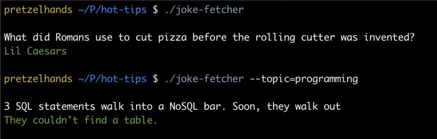 Command line app fetching two jokes