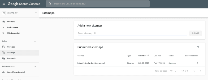 Google Search Console, Sitemaps section