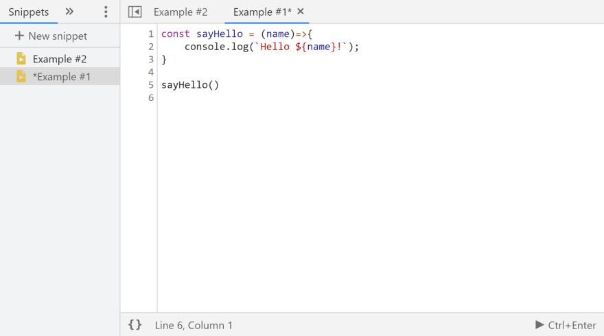 DevTools snippet editor