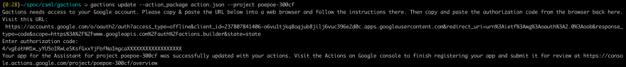 Authorization flow example with gactions CLI