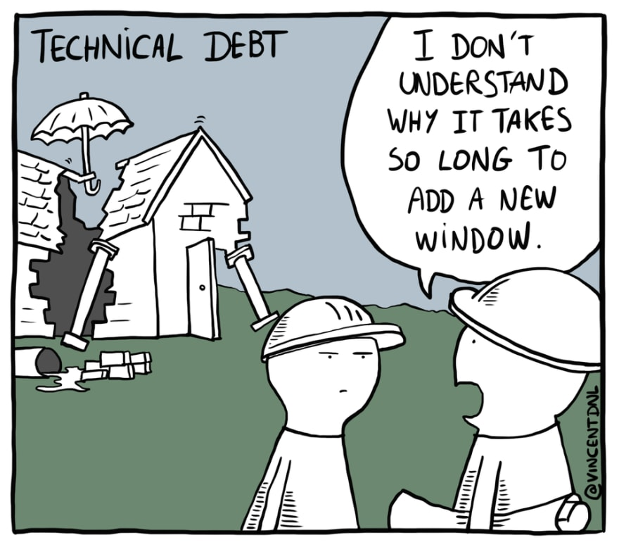 Technical Debt Comic by @vincentdnl