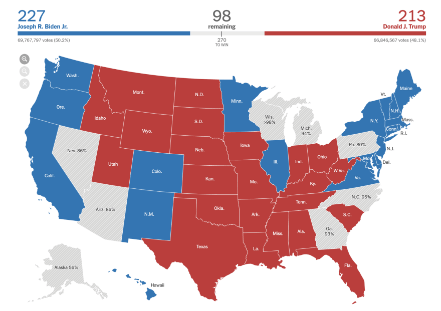 Map of the US with red and blue states highlighted, and a red and blue progress bar on top. From The New York Times