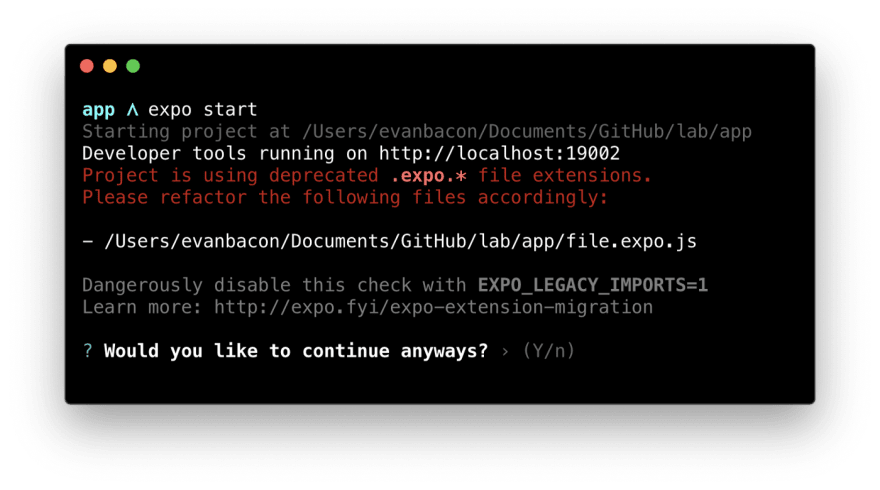 Terminal window showing a warning that projects with .expo.* file extensions are deprecated