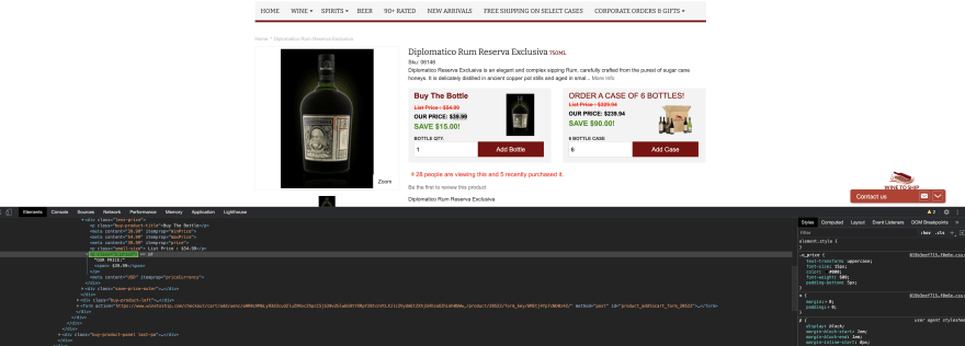 Selecting Price Information