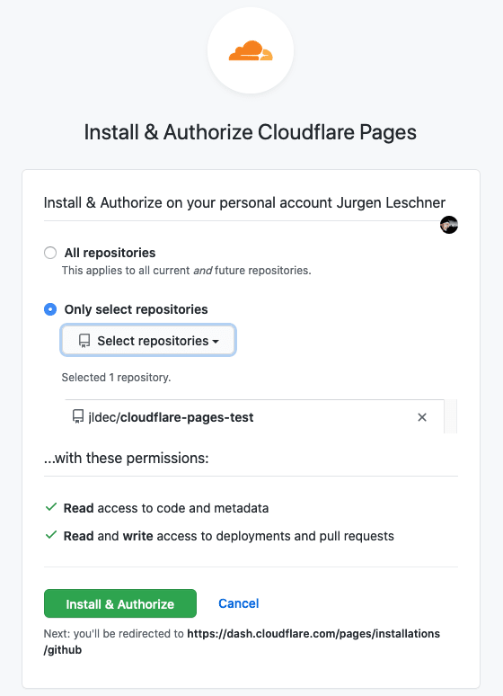 Authorize Cloudflare Pages app on GitHub