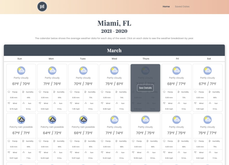 Calendar View of Weather Data