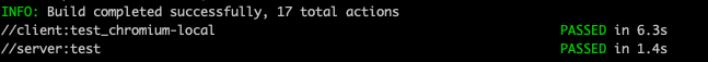 Multiple tests passing in terminal